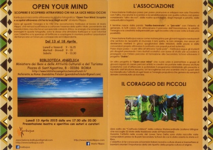 OPEN YOUR MIND-Roma mostra personale Biblioteca Angelica- dal 13 Aprile 2015